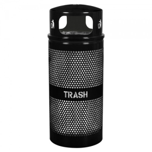 Landscape Series™ 34 Gallon Perforated Trash Receptacle with Dome Top